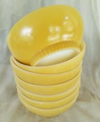 7 1960's Fire-king Oven Ware 5 Bowl Pastel Yellow Rare