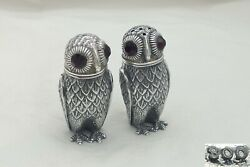 Rare Pair Of Continental Hm 800 Silver Cast Owl Salt And Pepper Pots