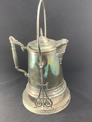 Meriden Silver Co. Quadruple Plate 9 Qt. Tilting Ice Water Pitcher With Stand