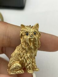 LONG HAIRED YORKIE TERRIER 14K YELLOW GOLD W SAPPHIRE EYES PINBROOCH ADORABLE