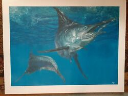 Rare Stanley Meltzoff Double Header 1 -blue Marlin 1981 27 X 19.5