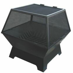 24 X 24 Square Fire Pit With Carbon Steel Hinged Screen And Grate