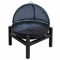 36 Round Fire Pit With Square 4 Leg Base, Ss Pivot Screen And Grate