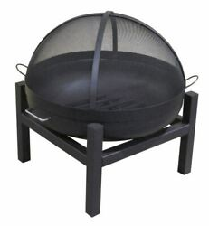 36 Round Fire Pit With Square 4 Leg Base, Ss Dome Screen And Grate