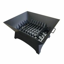Masterflame 30 X 24 Square Steel Fire Pit With Grate