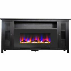 Somerset 70 Black Electric Fireplace Tv Stand W/driftwood Log Display