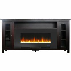 Somerset 70 Electric Fireplace Tv Stand With Crystal Rocks - Mahogany