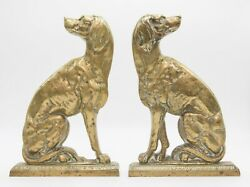Pair Large Antique English Brass Fireside Mantel Dogs Doorstops Bookends