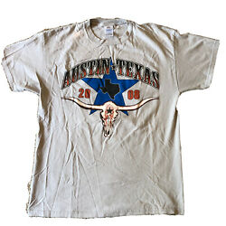 Austin Texas Cowboys 2008 Motorcycle Rally Racing Tee T Shirt Size Large L $12.00