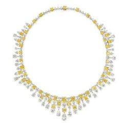 Yellow Radiant White Pear Drop 925 Sterling Silver Party Wear Solid Necklace