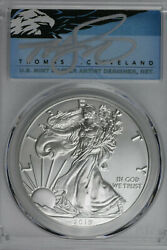 2019 W Burnished American Silver Eagle Pcgs Sp70 First Day Of Issue Autographed