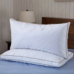 Puredown 2 Pack Goose Down Feather Bed Pillows 2quot; Gusseted Queen Standard Size