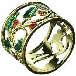 Lenox Holly And Berries Gold Set Of 4 Napkin Rings