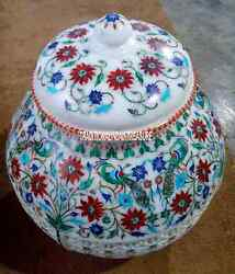 12 White Marble Pot Rare Hakik Stone Floral Work Inlay Decor Marquetry Gifts