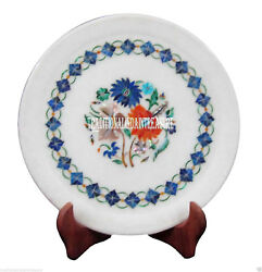 9 White Marble Serving Dish Plate Lapis Mosaic Collectible Inlay Decor Gifts