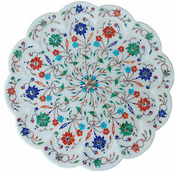 14 Marble White Plate Real Lapis Stone Inlay Floral Mosaic Collectible Decor