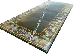 4and039x2and039 Exclusive Black Marble Breakfast Table Top Handmade Floral Art Decor H3487