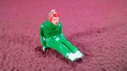2 Barclay Manoil Winter Figure - Man Sitting - For Sled - Green