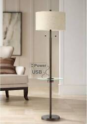 Modern Floor Lamp with Table USB Outlet Oiled Bronze Living Room Reading Office