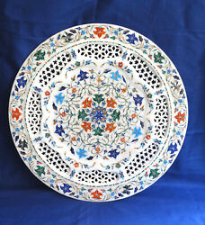 15 Decorative White Marble Plate Filigree Handmade Kitchen Table Decor Gifts