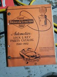 Briggs And Stratton Car Lock And Key 1940- 1952 Service Parts Catalog+ 1953- 1959