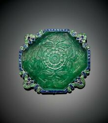 Carved Emerald 925 Sterling Silver Blue Princess Cz And Tiny Cabochon Brooch Pin