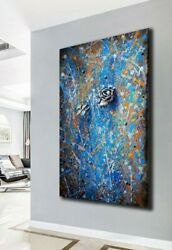 Modern Abstract Painting On Canvas Large Wall Art Painting Flower Blue Silver