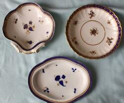 3 Antique Caughley C1790 Porcelain Dishes Blue And Gold English 18thc