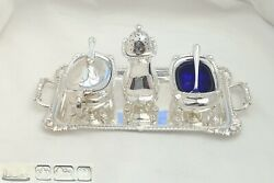 Rare Edwardian Hm Sterling Silver 3 Piece Cruet Set And 2 Handled Tray 1907