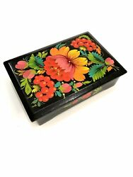 Russian Hohloma Luxury Jewelry Lacquer Box Black Colors Wood Vintage 1969 Moscow