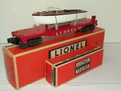 Lionel Pw 6801 Flat Car With Boat And All The Boxes Nice