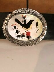 Handmade Sterling Silver Mother Of Pearl Inlay Birds Concho Belt 1970's