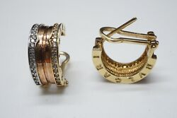 Bvlgari B Zero 1 18k Tri-color Gold And Diamond Lined Wide Hoop Earrings 5.46g