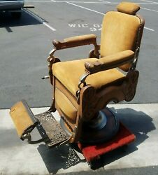 Antique Koken Barber Chair 1908 Quarter Sawn Oak With Brown Suede In Good Cond.