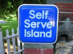 Mobil Gas Station Lighted Self Service Sign Nos Still In Box Vintage 1983 Rare