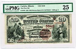 Carlyle Il - 20 1882 Brown Back Fr. 504 The First Nb Ch. M5548 Pmg Vf 25.
