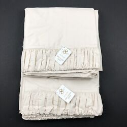 Sweet Dreams Ruched Oyster Double Lined Pair Of 2 Curtain Panels Decor New Nwt