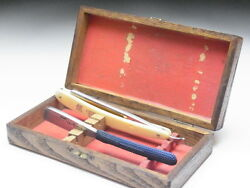 Very Rare Antique Box For Straight Razors Used At A Barber Shop In Japanf-142