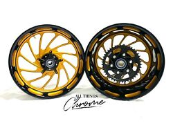 240 Fat Tire Colormatch Black And Gold Turbo Wheels 2004-2008 Yamaha Yzf R1