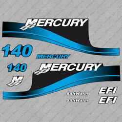 Mercury 140hp Efi Saltwater Outboard Engine Decals Blue Sticker Set Reproduction