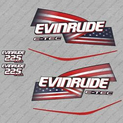 Evinrude 225 Hp Etec High Output Outboard Engine Decals Sticker Set Reproduction