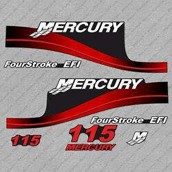 Mercury 115 Hp Four Stroke Outboard Engine Decals Red Sticker Set Reproduction