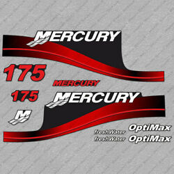 Mercury 175hp Optimax Freshwater Outboard Engine Decals Red Sticker Set