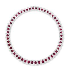 Pink Oval 925 Sterling Silver Baguette Collar Necklace For Women