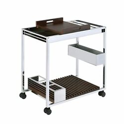 Benjara Metal And Wood Serving Cart With Tray And Floating Shelf Brown And S...