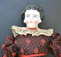 German Antique Doll - China Head/shoulders -great Hair- Leather Hands-1800and039and039s