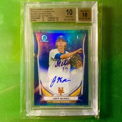 2014 Bowman Chrome Jeff Mcneil Auto Bgs 10 Pristine Rookie Refractor And039d 96/99