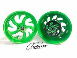 Ninja 240 Fat Tire Lollypop Lime Shark Tooth Wheels 04-10 Kawasaki Ninja Zx-10r