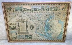 1931 Map Of Maryland And Surrounding Areas Depicts Historical And Cultural Events