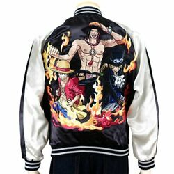 Sukajan One Piece Ace Sabo Luffy Brother-in-law Satin Embroidery Souvenir Jacket